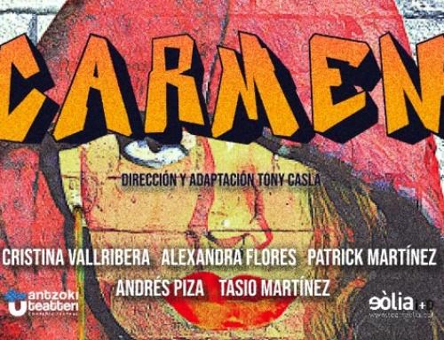 Els exalumnes Tony Casla, Cristina Vallribera/Alexandra Flores, Tasio Martínez i Andrés Piza a CARMEN al Teatre Eòlia.